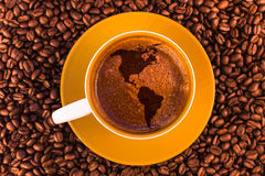 Map of America on fresh espresso with a beautiful crema Stock Images