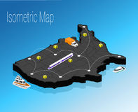 Map America isometric concept. Royalty Free Stock Photo