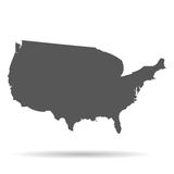 Map of America with shadow flat style white background Royalty Free Stock Photography