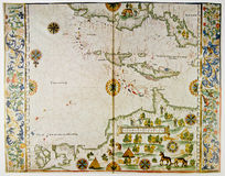 Map of America and West Indies. Medieval map showing part of America and West Indies. Photo from old reproduction royalty free stock photos