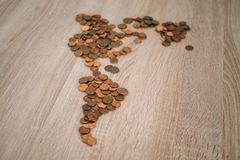 Map of the american continent made with coins.  royalty free stock photo