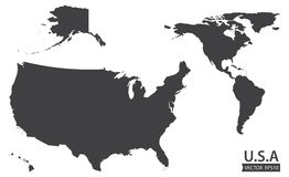 Map of the American continent and the USA including Alaska and Hawaii. Blank similar USA map on white background. Stock . Flat design royalty free illustration