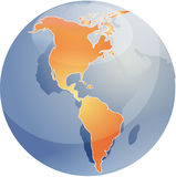 Map of the Americas on globe Royalty Free Stock Photography