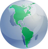 Map of the Americas on globe   Royalty Free Stock Photo
