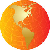 Map of the Americas on globe  illustration Stock Images
