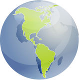 Map of the Americas on globe  illustration Royalty Free Stock Image
