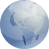 Map of the Americas on globe  illustration Royalty Free Stock Photo