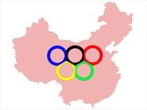 Map&symbol dei Giochi Olimpici Fotografia Stock Libera da Diritti