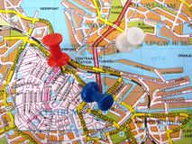 Map of Amsterdam. Colorful map of the city of Amsterdam Holland Stock Photography
