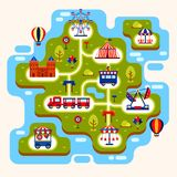 Map of amusement park with attractions. Map of amusement park with merry go round and ferris wheel, train and castle, balloons. Kid or children summer playground Royalty Free Stock Photo
