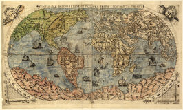 Map of ancient world. (Universale Descrittione Di Tutta la Terra Consciuta by Paulo Forlani, 1565 year stock illustration