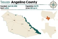 Map of Angelina county in Texas. Detailed map of Angelina county in Texas, USA Royalty Free Stock Photos