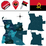 Map of Angola with Named Provinces Stock Photos
