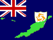 Map of Anguilla. And their flag illustration Royalty Free Stock Images