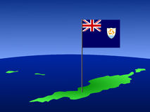 Map of Anguilla with flag Stock Image