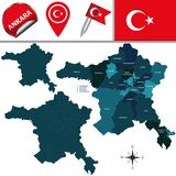 Map of Ankara, Turkey with Districts. Vector map of Ankara, Turkey with named districts and travel icons stock illustration
