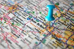 Ann Arbor, Michigan. A map of Ann Arbor, Michigan marked with a push pin stock photography