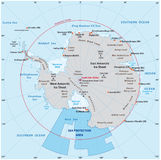 Map of the Antarctic with the new sea protection area in the Ross Sea stock illustration