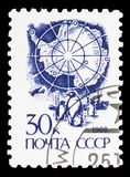 Map of Antarctica and Emperor Penguins, Definitive Issue No. 13 serie, circa 1988. MOSCOW, RUSSIA - MAY 25, 2019: Postage stamp printed in Soviet Union shows Map royalty free stock images