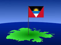 Map of Antigua with flag Stock Photography