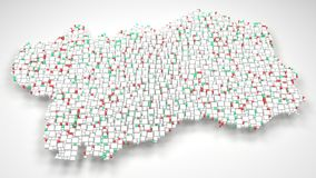 Map of Aosta Valley - Italy. | 3d Rendering, mosaic of little bricks - White and Flag colors Royalty Free Stock Photography