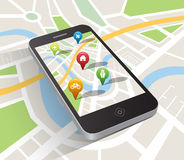 Map application on smartphone Royalty Free Stock Photography