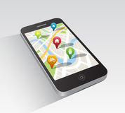 Map application on smartphone Stock Photo