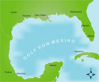 Map of the area of the gulf of mexico. Stylized map of the area of the gulf of mexico. German captions Royalty Free Stock Image