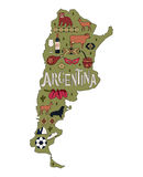 The Map of Argentina. Stock Photo