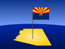 Map of Arizona with flag Royalty Free Stock Image