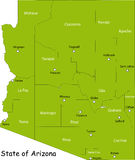 Map of Arizona state. Designed in illustration with the counties and the county seats. (Map is hight resolution Royalty Free Stock Image