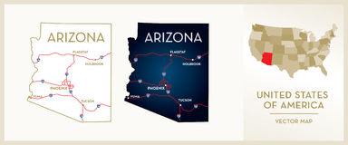 Map Of Arizona Royalty Free Stock Photography