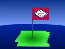 Map of Arkansas with flag Stock Photos