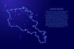 Map Armenia from the contours network blue, luminous space stars Royalty Free Stock Images