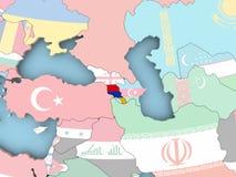 Map of Armenia with flag on globe. Armenia with embedded flag. 3D illustration Royalty Free Stock Photos