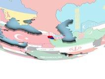 Map of Armenia with flag on globe. Armenia on globe with flag. 3D illustration Royalty Free Stock Photo