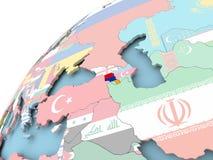 Armenia on globe with flag. Map of Armenia on political globe with embedded flag. 3D illustration Stock Photo