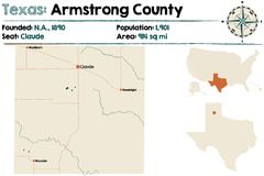 Map of Armstrong county in Texas. Detailed map of Armstrong county in Texas, USA Stock Images