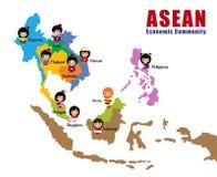 Map of Asean - AEC. Cartoon map of Asean with flag, asia, cartoon girls AEC royalty free illustration