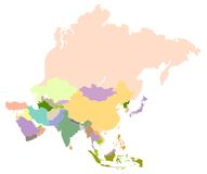 Map of asia. Vector map of asia, each country is the individual isolated object Royalty Free Stock Photography
