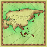 Map of Asia. Antique hand drawn map of Asia (approximate Stock Photos
