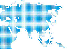 Map of Asia. Abstract map of the Asia made of blue boxes Stock Image