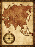 Map of Asia with a compass. Map of Asia on the old background with a compass Stock Images