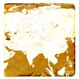 Map of Asia continent blank in old style.  Russia, China, India, Thailand. Brown graphics in a retro mode on ancient and damaged p Royalty Free Stock Photography