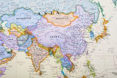 Map of Asia. Asia is Earth`s largest and most populous continent, located primarily in the Eastern and Northern Hemispheres. It shares the continental landmass stock image