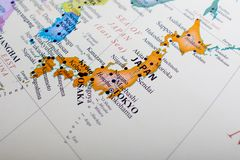 Map focus on Japan. Map of Asia focused Tokyo Japan royalty free stock photo