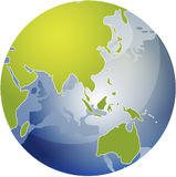 Map of Asia on globe Stock Image