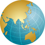 Map of Asia on globe Stock Images