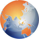 Map of Asia on globe  Royalty Free Stock Photo