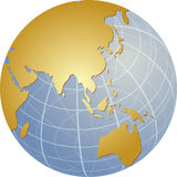 Map of Asia on globe. Map of the Asia, on a spherical globe, cartographical illustration Stock Photos
